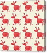 Red Reindeer Pattern Canvas Print