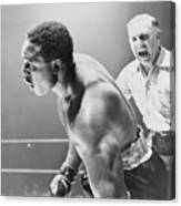 Referee Counting As Boxer Archie Moore Canvas Print