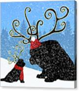 Reindeer Newfs Holiday Card Canvas Print