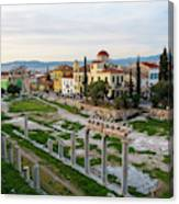 Remains Of The Roman Agora And Cityscape Of  Athens, Greece Canvas Print