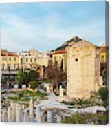 Remains Of The Roman Agora And Tower Of The Winds In Athens Canvas Print