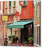 Restaurant In Venice Canvas Print