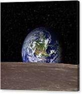 Rising Earth Over Moon Surface Canvas Print