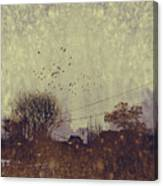 River Village With Grunge Canvas Print