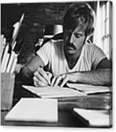 Robert Redford Writing At Desk Canvas Print