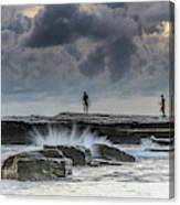 Rock Ledge, Spear Fishermen And Cloudy Seascape Canvas Print