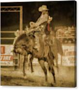 Rodeo Rider Bronco Busting Sepia One Canvas Print