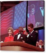 Ronald And Nancy Reagan With Ray Charles Canvas Print
