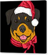 Rotweiler Xmas Hat Dog Pet Lover Christmas Canvas Print