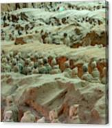 Rows Of Terra Cotta Warriors In Pit 1 Canvas Print
