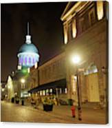 Rue Saint Paul In Old Montreal At Night Canvas Print