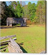 Rustic Double Crib Barn And Split Rail Fence In Cades Cove Canvas Print