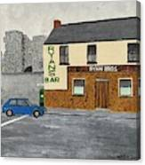 Ryans Pub And Swords Castle Painting Canvas Print