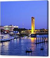 Sacramento River And Tower Bridge At Canvas Print