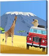 Safari Truck In African Savannah Canvas Print