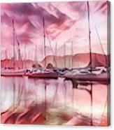 Sailboat Reflections At Sunrise Abstract Canvas Print
