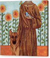 Saint Francis And The Wolf Of Gubbio Canvas Print