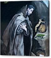 Saint Francis Kneeling In Meditation Canvas Print