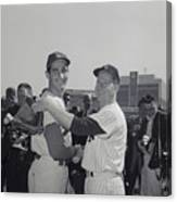 Sandy Koufax And Whitey Ford Shaking Canvas Print