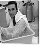 Sandy Koufax Soaking His Elbow In Ice Canvas Print
