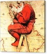 Santa At The Map Canvas Print