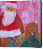 Santa Claus And Guardian Angel - Pintoresco Art By Sylvia Canvas Print