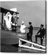 Santa Claus Arriving On Seaplane Canvas Print