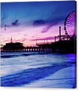 Santa Monica Pier With Ferris Wheel Canvas Print