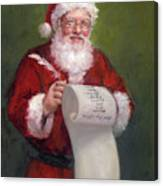Santa With A Scroll And Quill Canvas Print