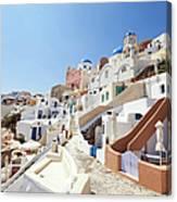Santorini, Churches And Houses Canvas Print