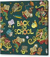 School And Education Doodles Hand Drawn Canvas Print