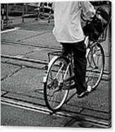 Schoolboy Bicycling Across Railroad Canvas Print