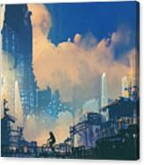 Sci-fi Cityscape With Slum And Canvas Print