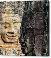 Sculptures At Bayon Temple, Angkor Canvas Print