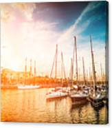 Sea Bay With Yachts At Sunset Canvas Print