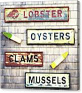 Seafood Signs Canvas Print