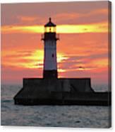 Seagulls And Sunrise Canvas Print