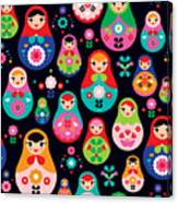 Seamless Colorful Retro Russian Doll Canvas Print
