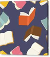 Seamless Flying Books Pattern Canvas Print