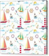 Seamless Marine Pattern With Ships Canvas Print