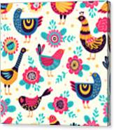 Seamless Pattern With Birds And Canvas Print