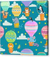 Seamless Pattern With Colorful  Hot Air Canvas Print