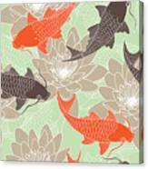 Seamless Pattern With Lotus And Carps Canvas Print