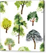 Seamless Pattern With Watercolor Trees Canvas Print