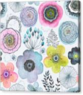 Seamless Watercolor Abstraction Floral Canvas Print