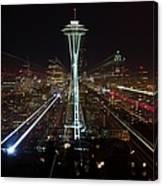 Seattle Skyline Laser Show Canvas Print