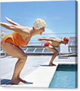 Senior Couple Ready To Dive In To Canvas Print