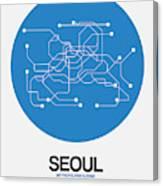 Seoul Blue Subway Map Canvas Print