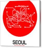 Seoul Red Subway Map Canvas Print