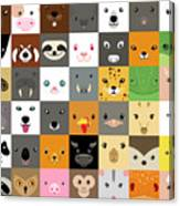 Set Of Cute Simple Animal Faces Canvas Print